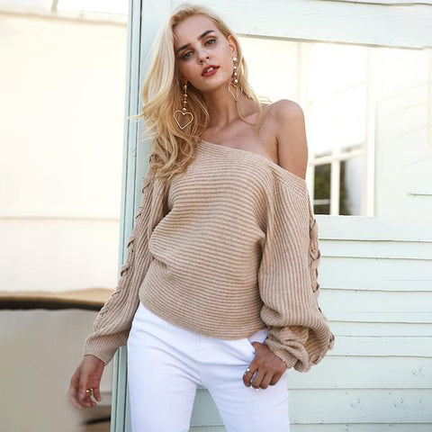 Lace Up Winter Knitted Sweater Pullover One Shoulder Loose Sweater Jumper