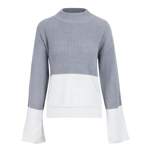Flare Sleeve Winter Knitted Sweater Casual Two Tone Stitch Pullover Split Jumper