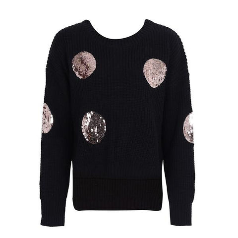 Sequins O Neck Knitting Winter Casual Long Sleeve Sweater Pullover Elegant Jumper