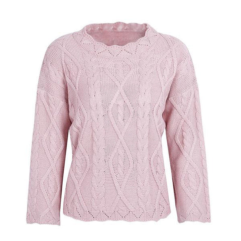 Knitted Sweater Pullover Round Neck Pink Loose Casual Winter Sweater Elegant Jumper