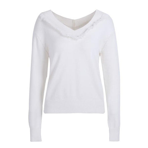 V Neck White Fringe Knitted Sweater Casual Elegant Long Sleeve Pullover Jumper