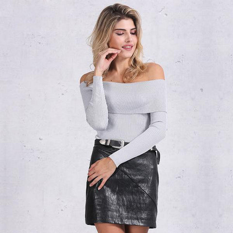 Off Shoulder Elastic Winter Sweater Short Gray Lapel Pullover White Jumpers Knitwear Top