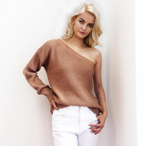 One Shoulder Winter Knitted Pullover Casual White Sweater Jumper Loose Sweater