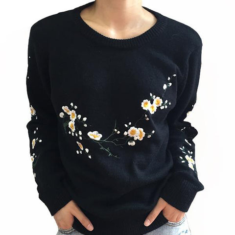 Embroidery Floral Print Knitted Sweater Casual Black Winter Pullover Elegant Jumper