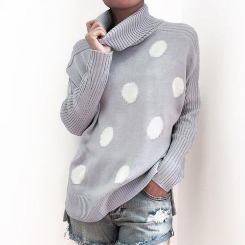 Turtleneck Polka Dot Sweater Casual Knitted Winter Sweater Jumper Elegant Pullover
