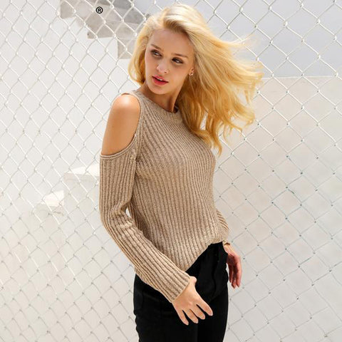 Cold Shoulder Knitted Winter Sweater Elegant Long Sleeve Pullover Casual Jumper