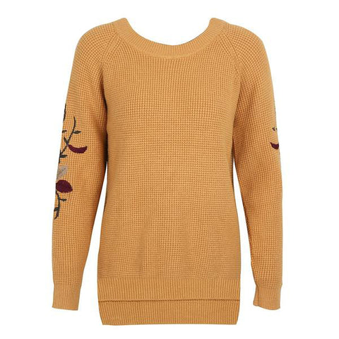 Embroidery Knitted Sweater Pullover Round Neck Casual Winter Sweater Jumper