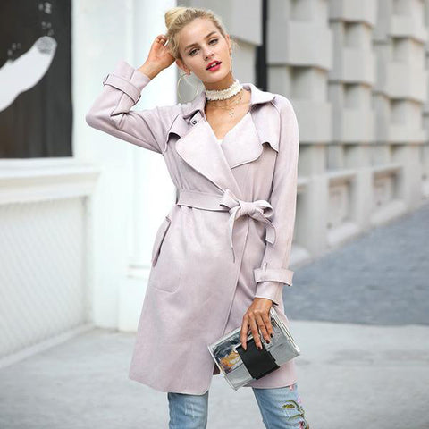 Leather Suede Winter Autumn Coat Elegant Belt Long Windbreaker Trench Coat