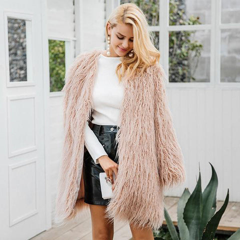 Fluffy Long Faux Fur Winter Coat