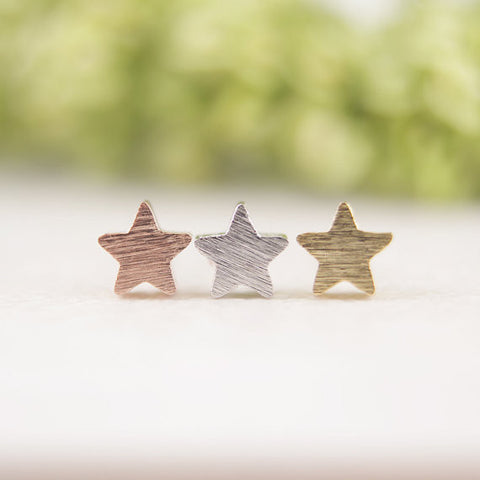 Brushed Geometric Star Stud Earrings