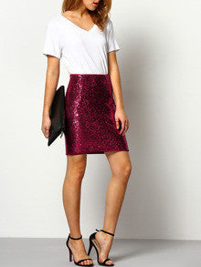 Red Sequin Party Skirt High Waisted Sexy Skirt