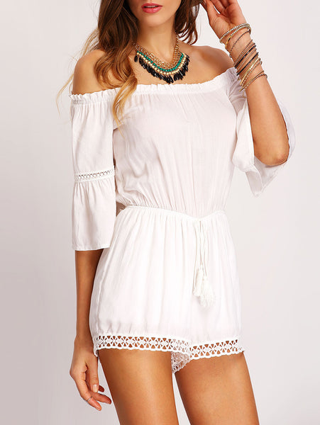 White Romper Off the Shoulder Jumpsuit