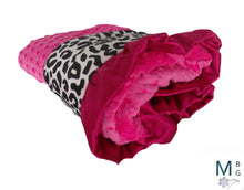 Load image into Gallery viewer, Minky Baby Blanket in Black and Fuschia Pink Leopard Animal Print, 3 sizes