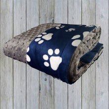 Load image into Gallery viewer, Navy Blue and White Paw Print Minky Blanket, Navy Blue Dog or Pet Blanket, available in three sizes