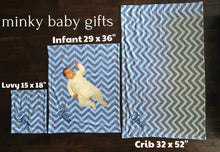 Load image into Gallery viewer, Satin Ruffle Minky Baby Blanket Navy Blue and Sage