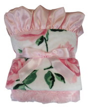 Load image into Gallery viewer, Pink Rose Floral Minky Baby Blanket With a Matching Pink Ruffle, In Stock Ready to Ship