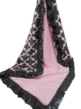 Load image into Gallery viewer, Ash Brown and Pink Quatrefoil Minky Dot Baby Blanket, In Stock Ready to Ship