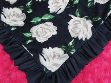 Load image into Gallery viewer, Navy and Pink Rose Floral Minky Baby Blanket With a Navy Ruffle