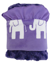 Load image into Gallery viewer, Purple Elephant Rose Swirl Minky Baby Blanket, Purple Elephant Jungle Print Baby Blanket