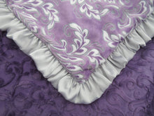 Load image into Gallery viewer, Purple Floral Madrid Baby Blanket with Silver Gray Satin Ruffle
