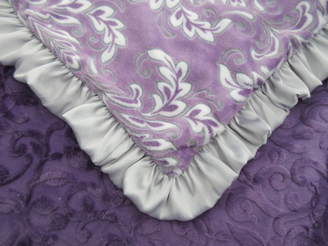 Purple Floral Madrid Baby Blanket with Silver Gray Satin Ruffle