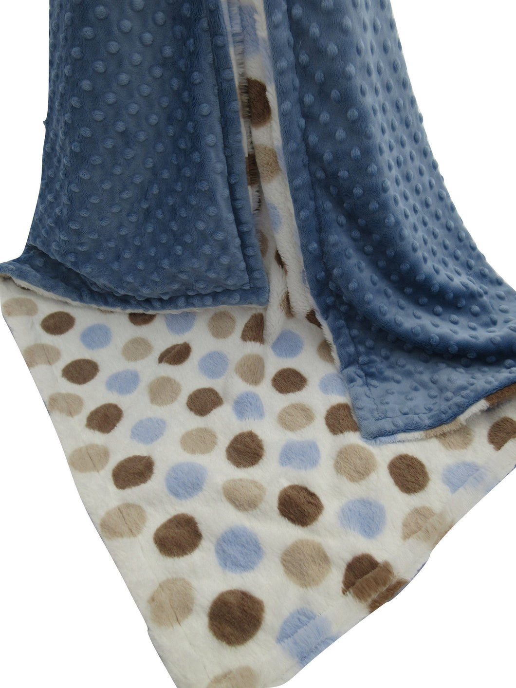 Blue Silky Dot and Blue Minky Baby Blanket