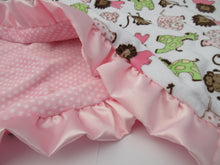 Load image into Gallery viewer, Pink Brown Woodland Animal Minky Baby Blanket Jungle Print, In Stock Ready to Ship