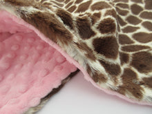 Load image into Gallery viewer, Pink and Brown Giraffe Minky Baby Blanket