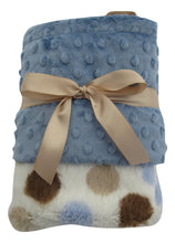 Load image into Gallery viewer, Blue Silky Dot and Blue Minky Baby Blanket