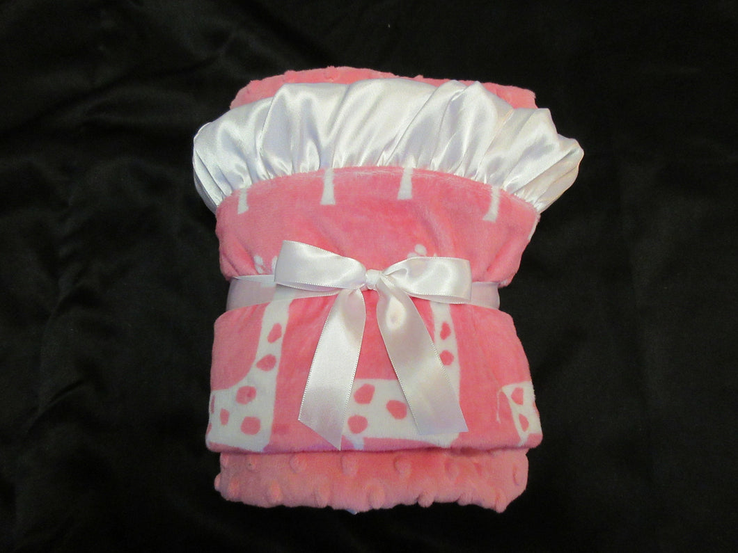 White and Pink Polka Dot Giraffe Minky Baby Blanket with Satin ruffle