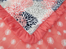 Load image into Gallery viewer, Coral and Navy Floral Dandelion Minky Baby Blanket, Baby Girl Blanket