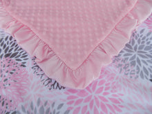 Load image into Gallery viewer, Pink Floral Blooms Minky Baby Blanket, In Stock Ready to Ship