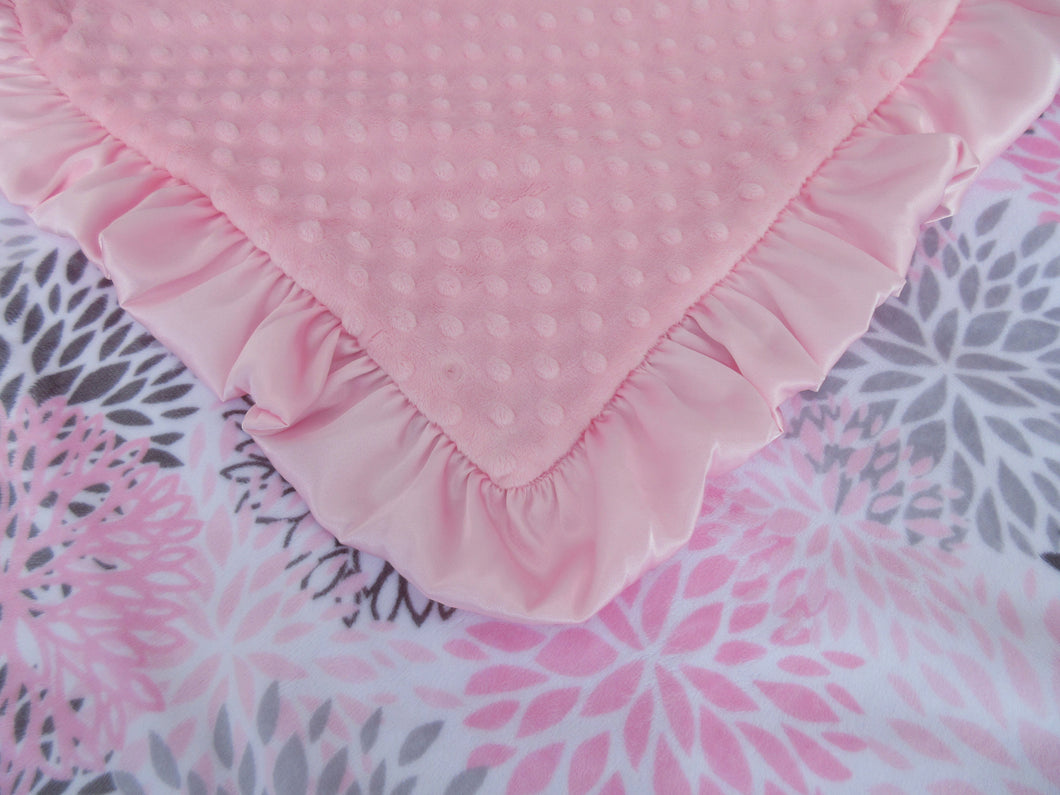 Pink Floral Blooms Minky Baby Blanket, In Stock Ready to Ship