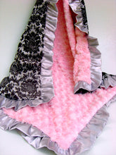Load image into Gallery viewer, Pink Black Damask Minky Baby Blanket,