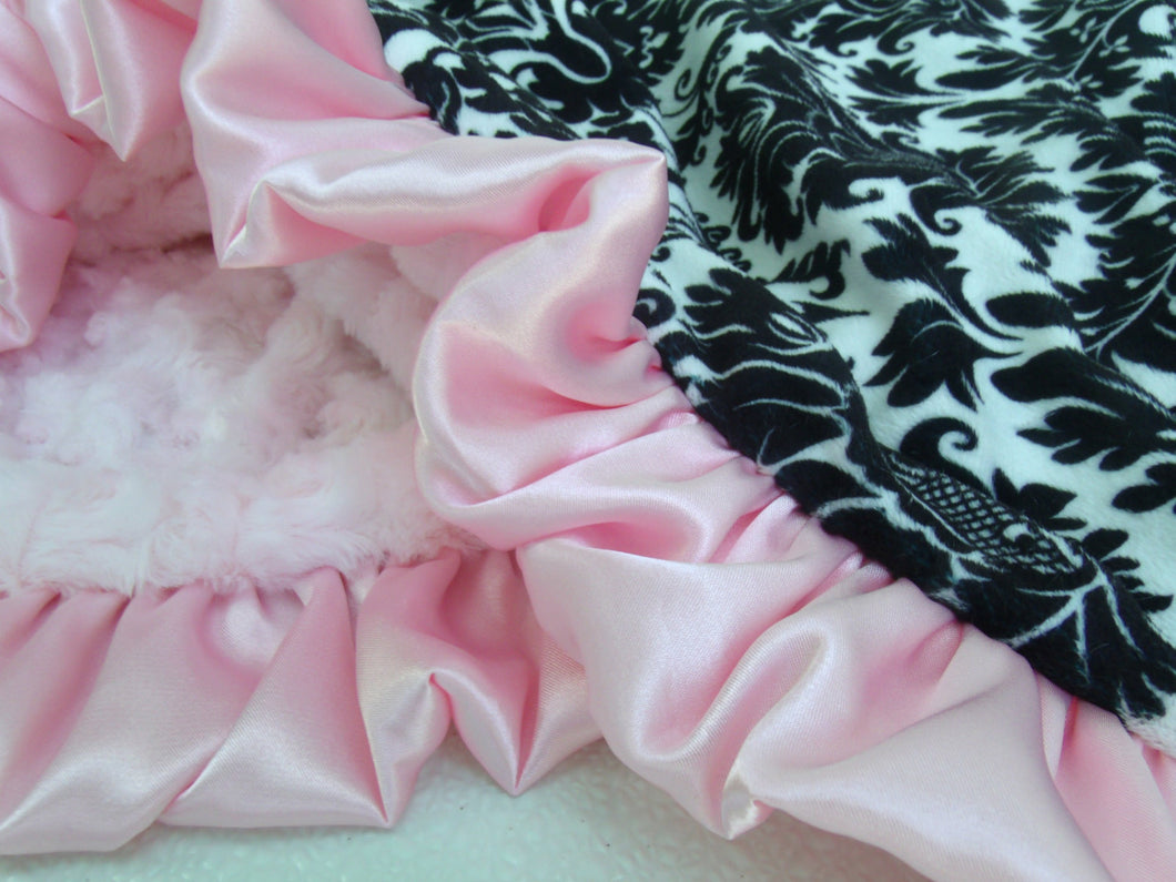 Black and White Damask and Pink Minky Blanket - for baby girl - Pink Rose Swirl, Baby Girl Blanket