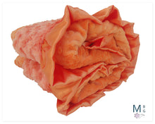 Load image into Gallery viewer, Orange Minky Dot Baby Blanket, Orange Rose Swirl Baby Blanket,
