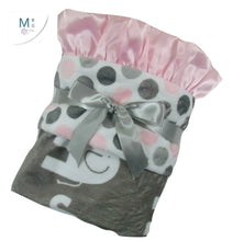 Load image into Gallery viewer, Pink Gray Elephant Blanket Minky Fabric with Satin Ruffle, Baby Girl Blanket