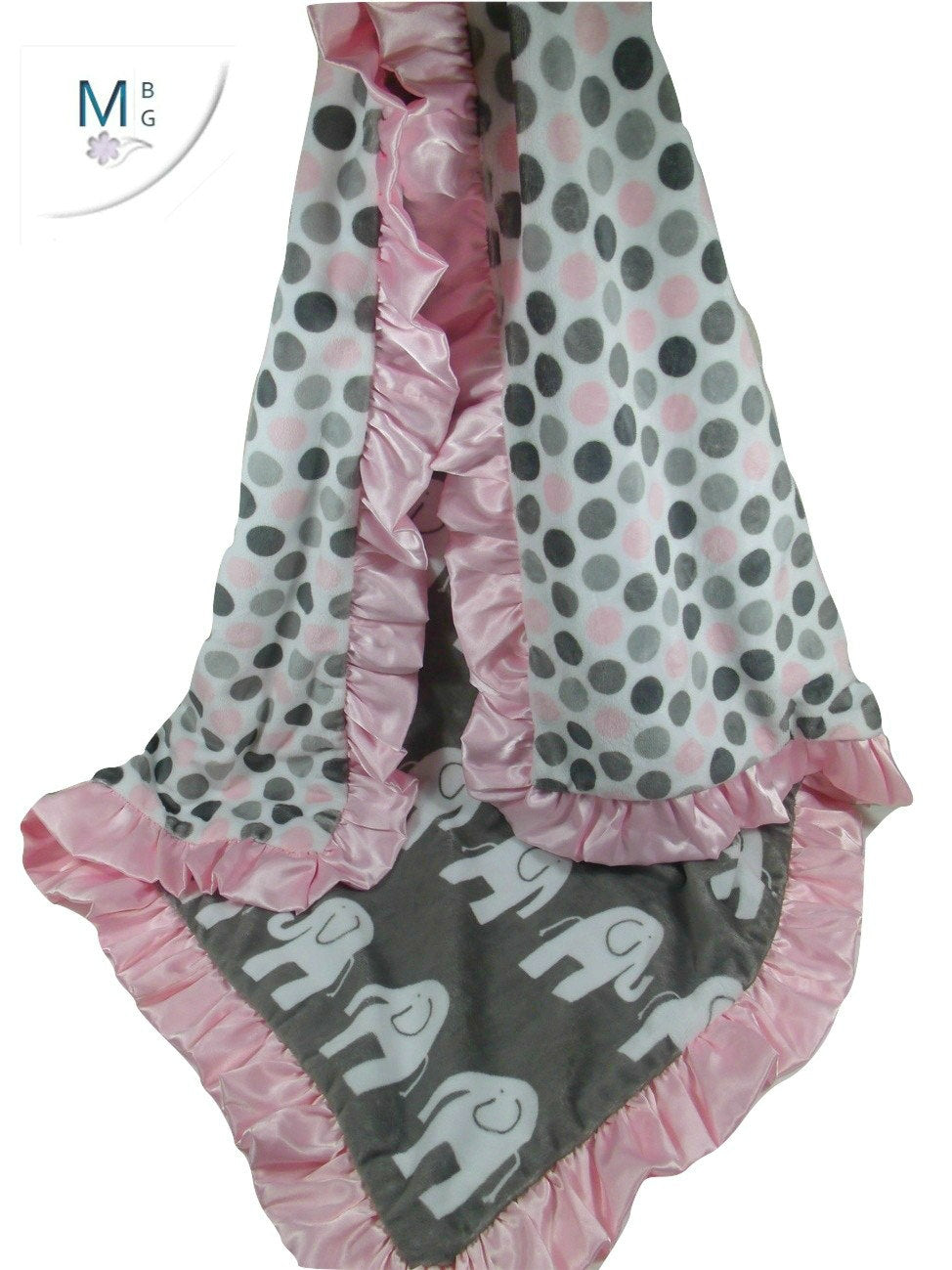Pink Gray Elephant Blanket Minky Fabric with Satin Ruffle, Baby Girl Blanket