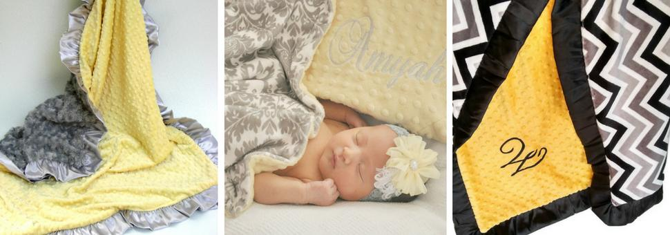 yellow and gray baby blankets