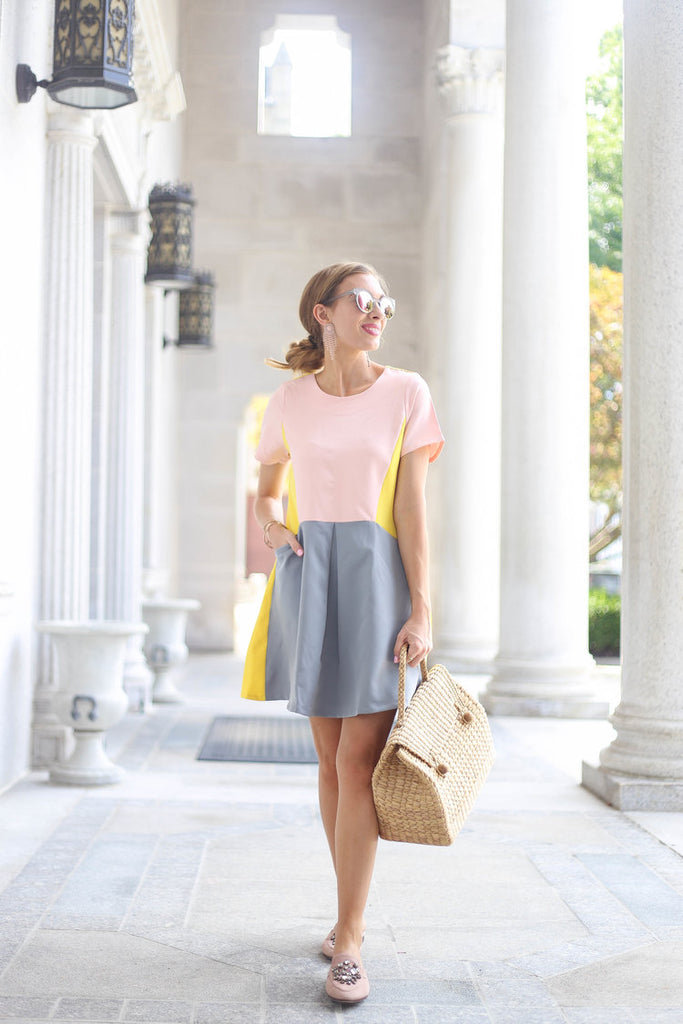 Wicker bag with Pastel outfit