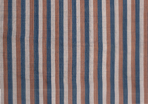 3 Vertical Stripes Indigo dye, Padaux Peel, White