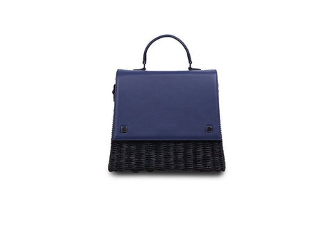 Laila Wicker Hand Bag (Navy)