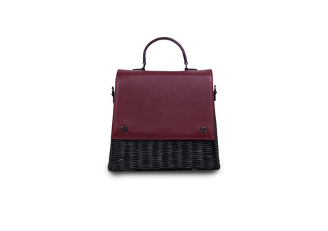 Laila Wicker Hand Bag (Burgundy)
