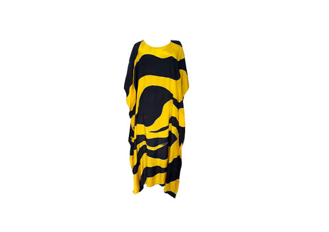 Casual Batik Dress (Yellow-Black)