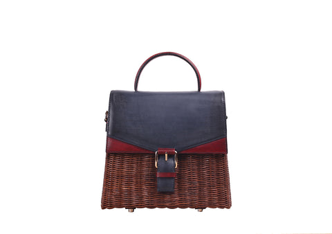 NEW LENA WICKER HAND BAG (Navy/Ruby)