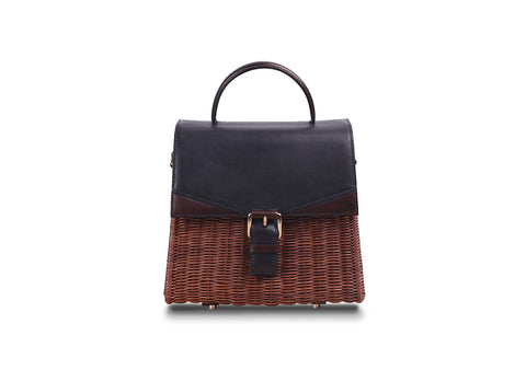 NEW  LENA WICKER HAND BAG (Black/Bruno)
