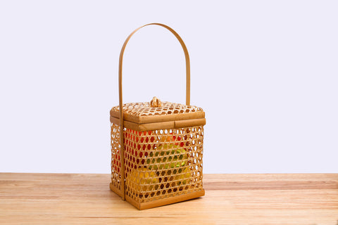 Wicker bamboo square basket with lid (Charal)