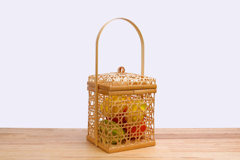 Wicker bamboo square basket with lid (Chalom)