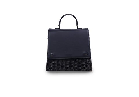Laila Wicker Hand Bag (Black)