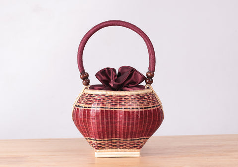 Mini Bamboo Wicker Round Handbag (Red)
